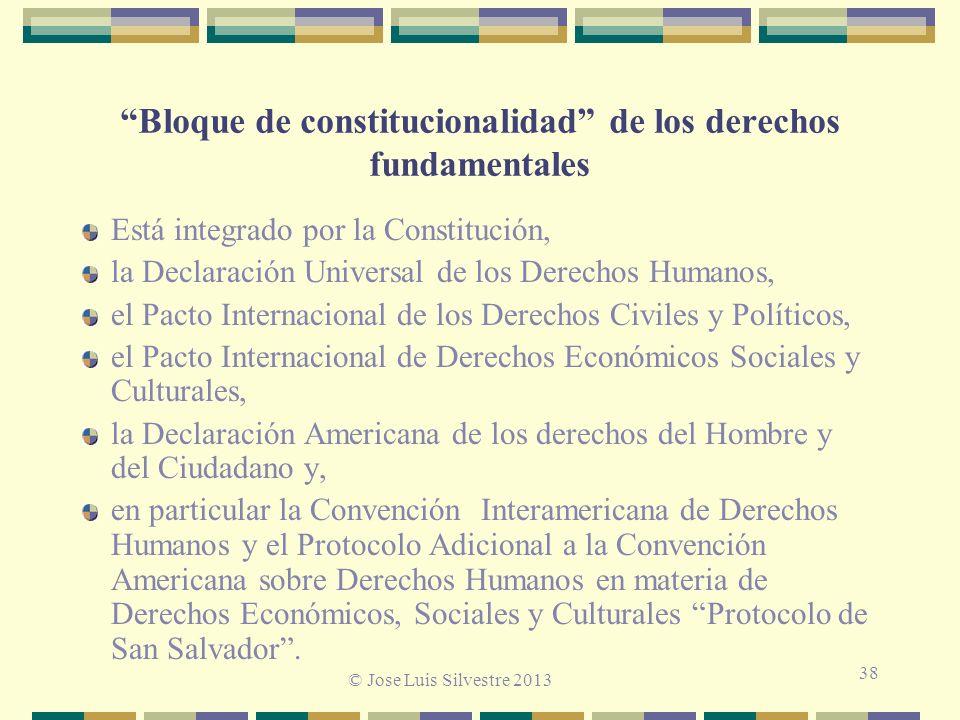 Bloque de constitucionalidad de los derechos fundamentales Está integrado por la Constitución, la Declaración Universal de los Derechos Humanos, el Pacto Internacional de los Derechos Civiles y Políticos, el Pacto Internacional de Derechos Económicos Sociales y Culturales, la Declaración Americana de los derechos del Hombre y del Ciudadano y, en particular la Convención Interamericana de Derechos Humanos y el Protocolo Adicional a la Convención Americana sobre Derechos Humanos en materia de Derechos Económicos, Sociales y Culturales Protocolo de San Salvador.