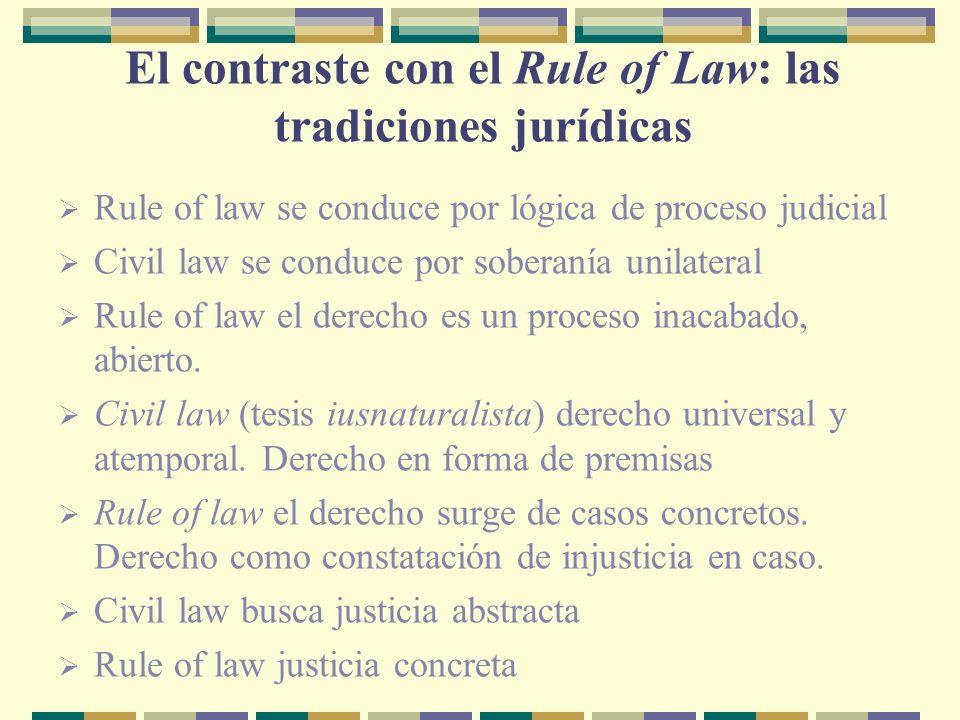El contraste con el Rule of Law: las tradiciones jurídicas Rule of law se conduce por lógica de proceso judicial Civil law se conduce por soberanía unilateral Rule of law el derecho es un proceso inacabado, abierto.