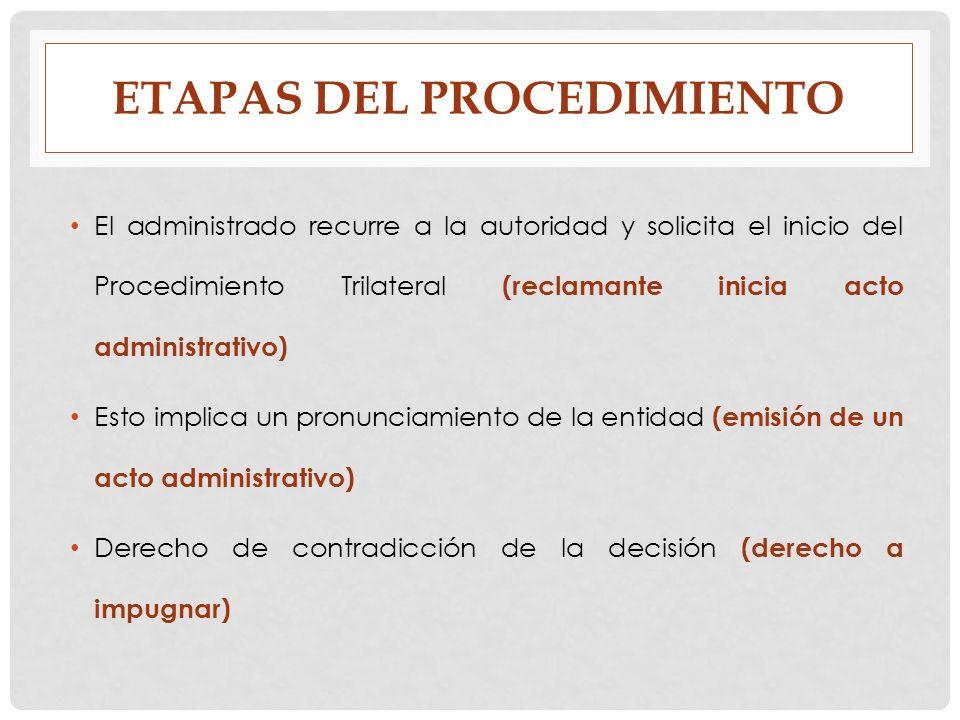 ETAPAS DEL PROCEDIMIENTO El administrado recurre a la autoridad y solicita el inicio del Procedimiento Trilateral (reclamante inicia acto administrati