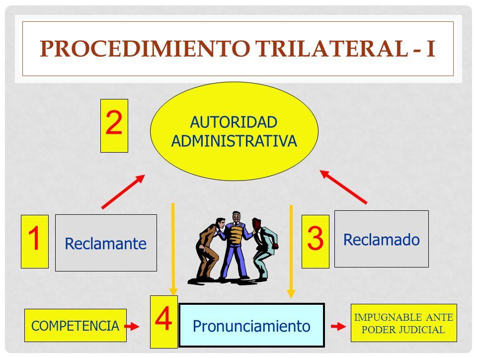 PROCEDIMIENTO TRILATERAL - I AUTORIDAD ADMINISTRATIVA Reclamante Reclamado Pronunciamiento COMPETENCIA IMPUGNABLE ANTE PODER JUDICIAL 1 2 3 4