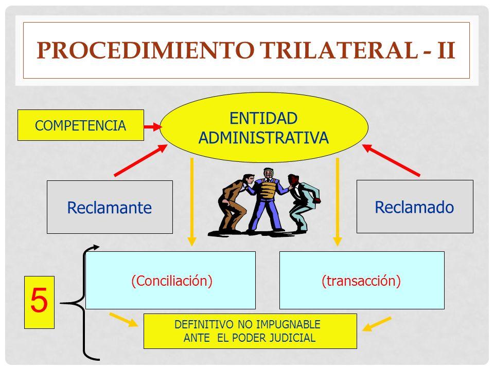 PROCEDIMIENTO TRILATERAL - II 5 ENTIDAD ADMINISTRATIVA Reclamante Reclamado COMPETENCIA DEFINITIVO NO IMPUGNABLE ANTE EL PODER JUDICIAL (Conciliación)