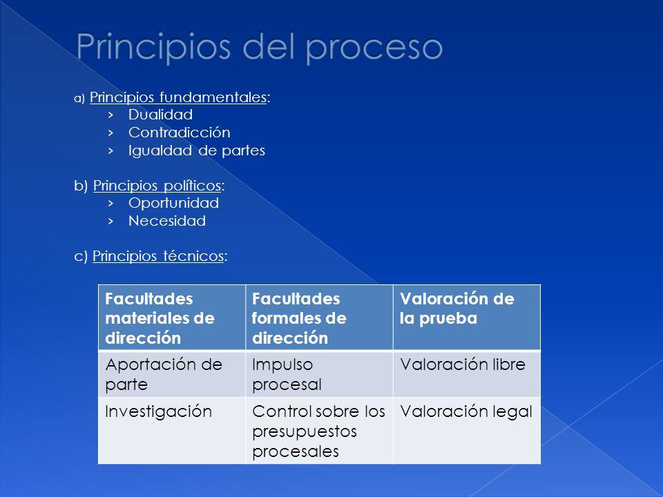 a) Principios fundamentales: Dualidad Contradicción Igualdad de partes b) Principios políticos: Oportunidad Necesidad c) Principios técnicos: Facultad