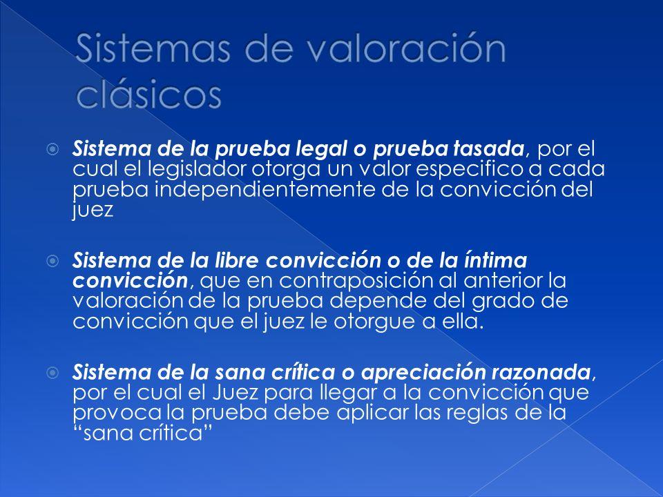 Sistema de la prueba legal o prueba tasada, por el cual el legislador otorga un valor especifico a cada prueba independientemente de la convicción del