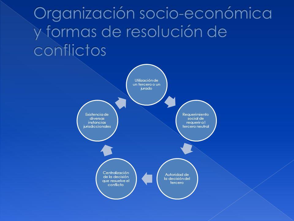 Utilización de un tercero o un jurado Requerimiento social de requerir a l tercero neutral Autoridad de la decisión del tercero Centralización de la d