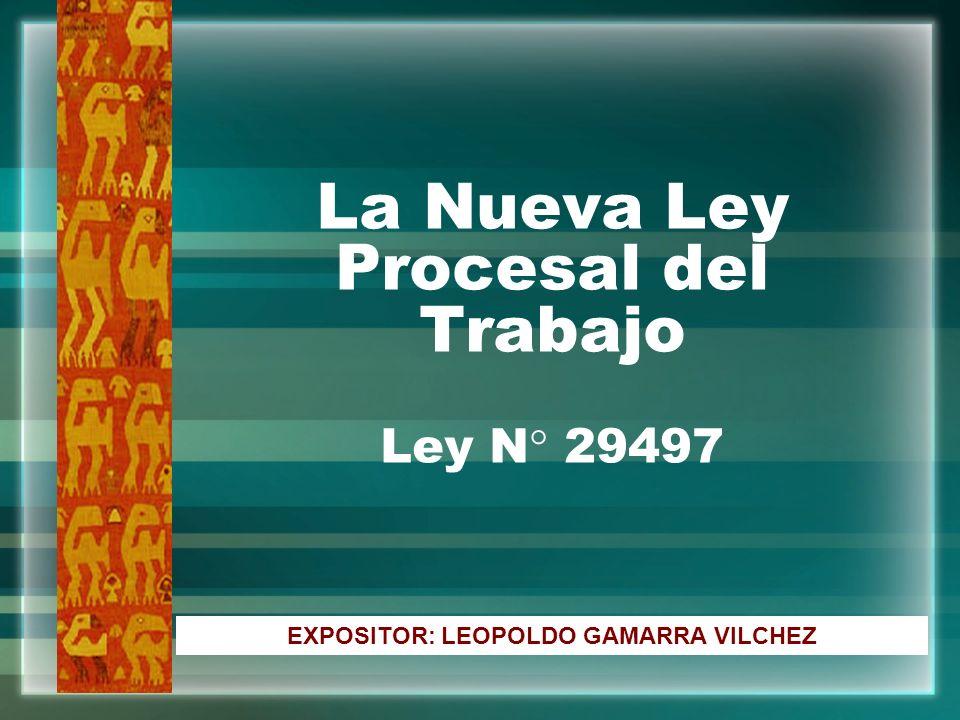 La Nueva Ley Procesal del Trabajo Ley N° 29497 EXPOSITOR: LEOPOLDO GAMARRA VILCHEZ
