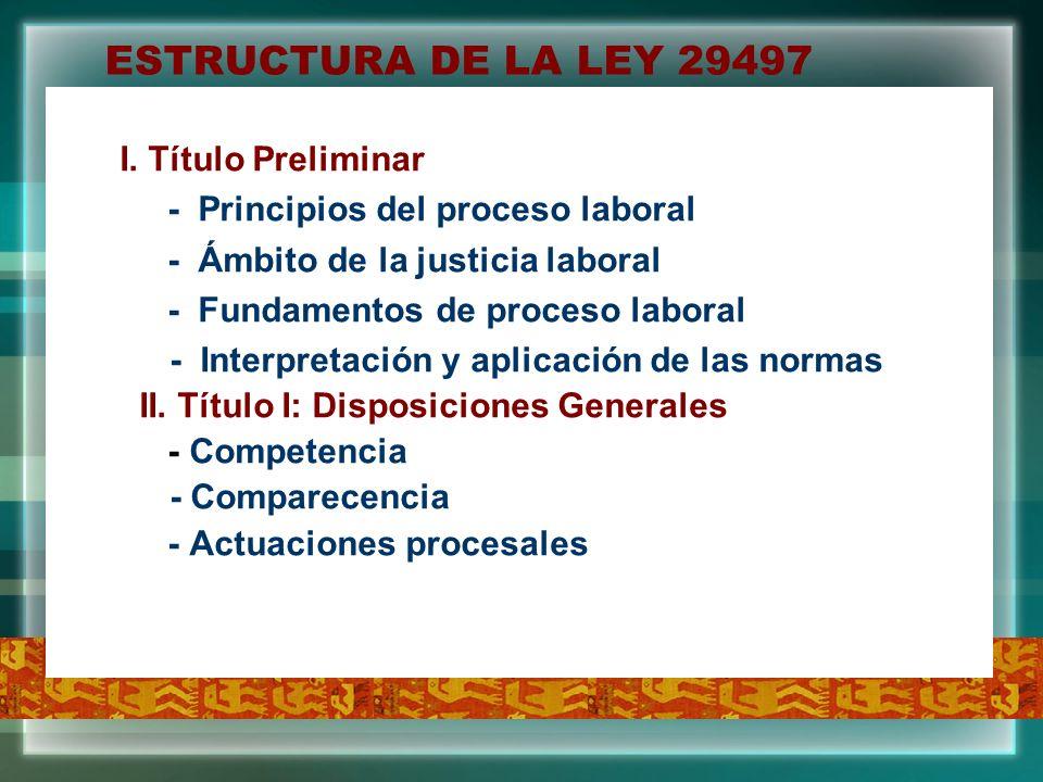 ESTRUCTURA DE LA LEY 29497 I. Título Preliminar - Principios del proceso laboral - Ámbito de la justicia laboral - Fundamentos de proceso laboral - In