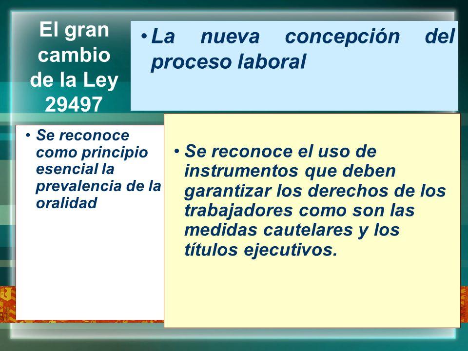 El gran cambio de la Ley 29497 La nueva concepción del proceso laboral Se reconoce como principio esencial la prevalencia de la oralidad Se reconoce e