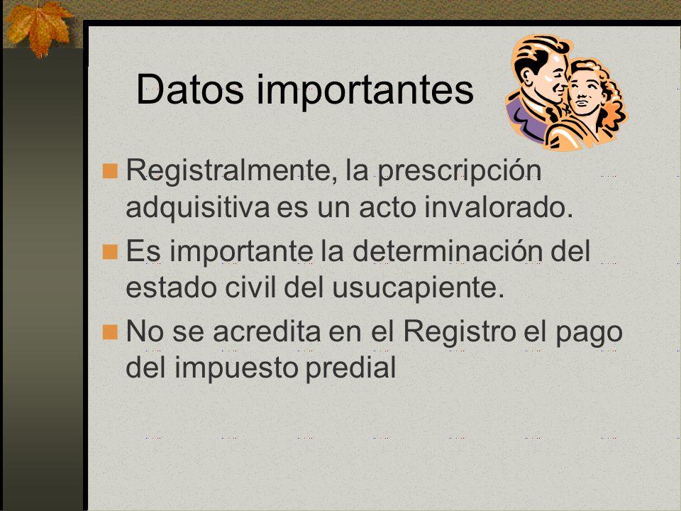 Efectos de la Prescripción La prescripción es declarativa y no constitutiva, no crea un derecho, solo reconoce tal derecho La declaración de prescripc