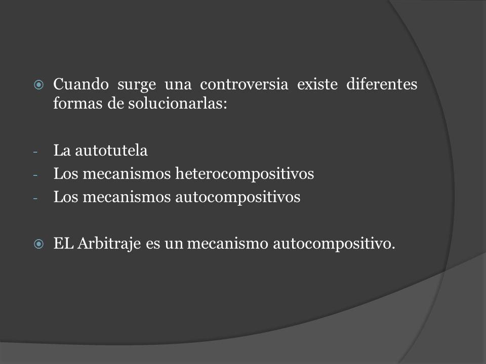 Cuando surge una controversia existe diferentes formas de solucionarlas: - La autotutela - Los mecanismos heterocompositivos - Los mecanismos autocomp