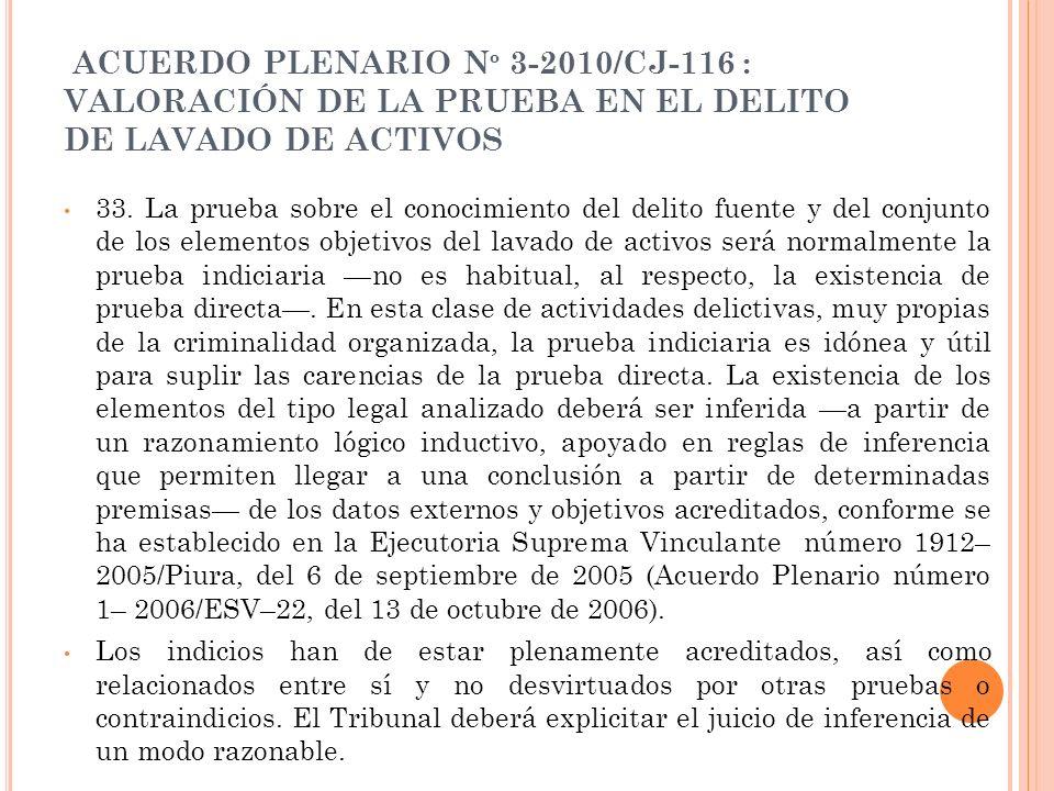 ACUERDO PLENARIO N º 3-2010/CJ-116 : VALORACIÓN DE LA PRUEBA EN EL DELITO DE LAVADO DE ACTIVOS 33. La prueba sobre el conocimiento del delito fuente y