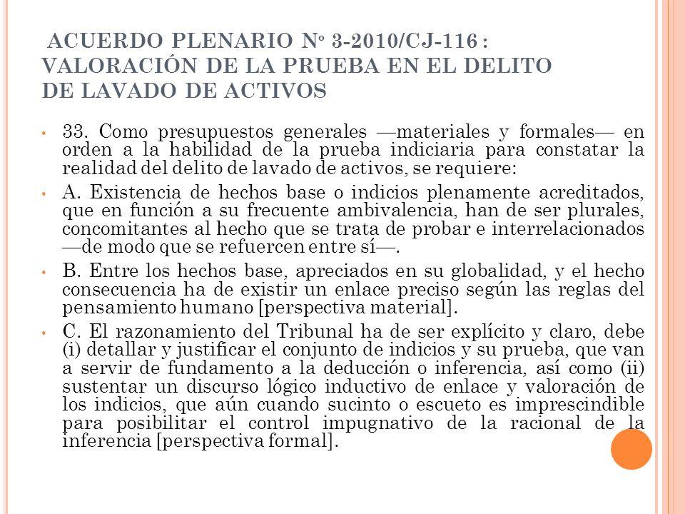 ACUERDO PLENARIO N º 3-2010/CJ-116 : VALORACIÓN DE LA PRUEBA EN EL DELITO DE LAVADO DE ACTIVOS 33. Como presupuestos generales materiales y formales e