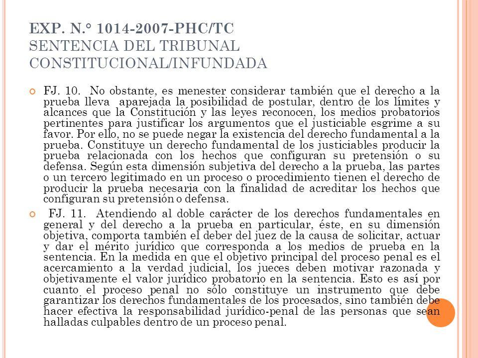 EXP. N.° 1014-2007-PHC/TC SENTENCIA DEL TRIBUNAL CONSTITUCIONAL/INFUNDADA FJ. 10. No obstante, es menester considerar también que el derecho a la prue