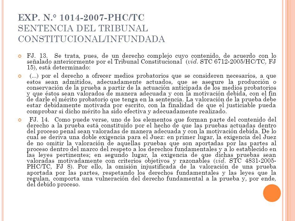 EXP. N.° 1014-2007-PHC/TC SENTENCIA DEL TRIBUNAL CONSTITUCIONAL/INFUNDADA FJ. 13. Se trata, pues, de un derecho complejo cuyo contenido, de acuerdo co