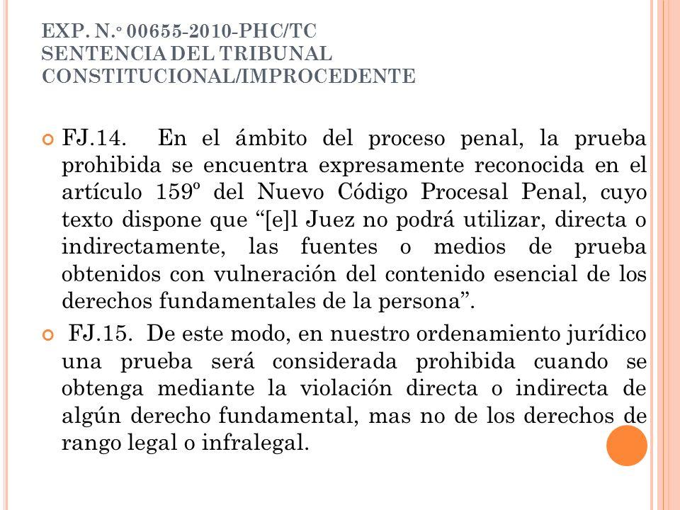 EXP. N. º 00655-2010-PHC/TC SENTENCIA DEL TRIBUNAL CONSTITUCIONAL/IMPROCEDENTE FJ.14. En el ámbito del proceso penal, la prueba prohibida se encuentra