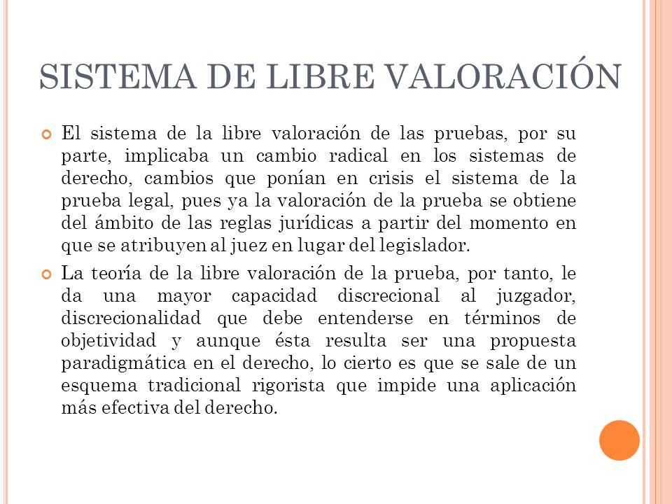SISTEMA DE LIBRE VALORACIÓN El sistema de la libre valoración de las pruebas, por su parte, implicaba un cambio radical en los sistemas de derecho, ca