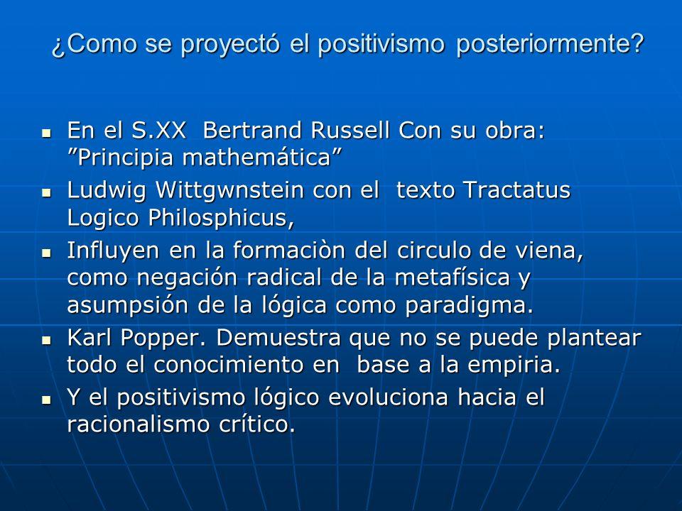 ¿Como se proyectó el positivismo posteriormente? En el S.XX Bertrand Russell Con su obra: Principia mathemática En el S.XX Bertrand Russell Con su obr