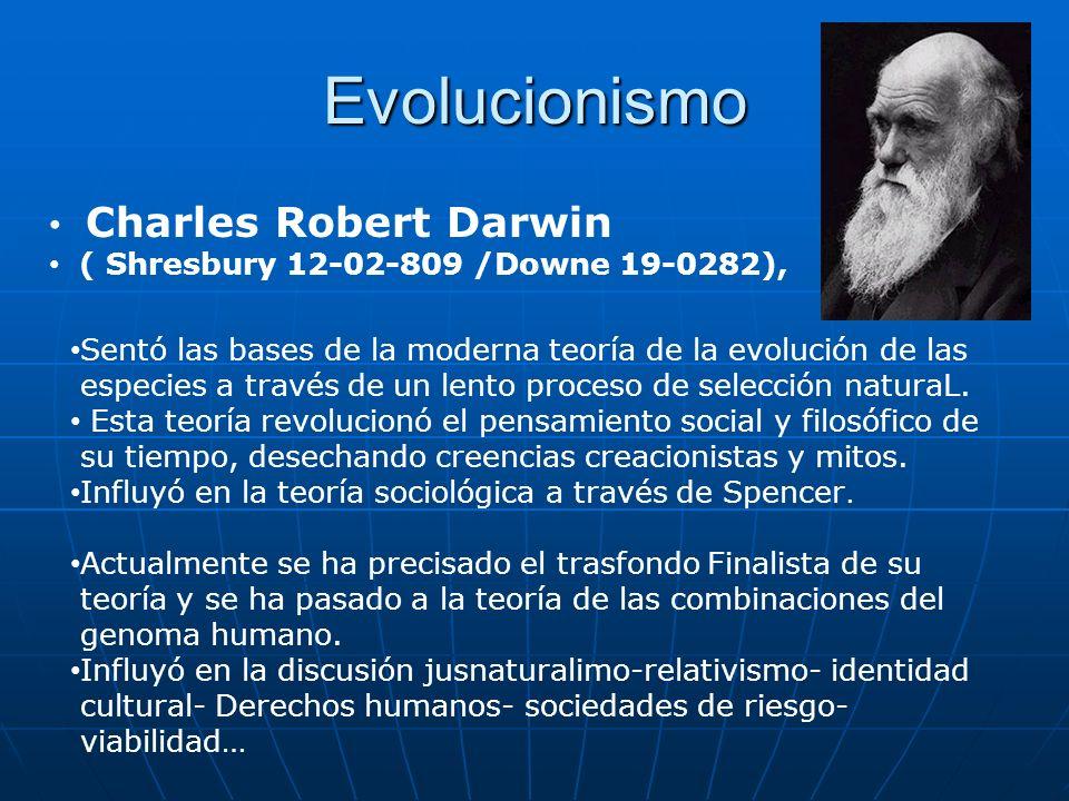 Evolucionismo Charles Robert Darwin ( Shresbury 12-02-809 /Downe 19-0282), Sentó las bases de la moderna teoría de la evolución de las especies a trav