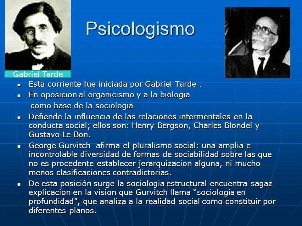 Psicologismo Esta corriente fue iniciada por Gabriel Tarde. Esta corriente fue iniciada por Gabriel Tarde. En oposicion al organicismo y a la biologia