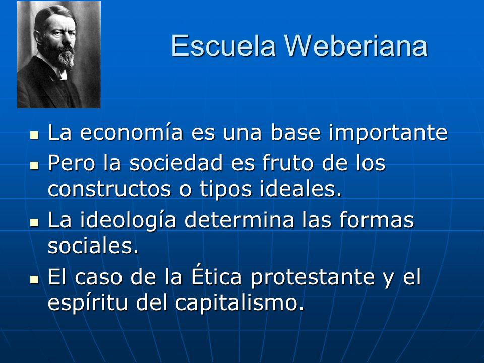 Escuela Weberiana La economía es una base importante La economía es una base importante Pero la sociedad es fruto de los constructos o tipos ideales.