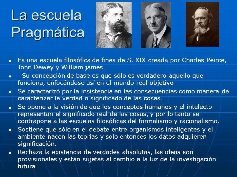 La escuela Pragmática Es una escuela filosófica de fines de S. XIX creada por Charles Peirce, John Dewey y William james. Su concepción de base es que