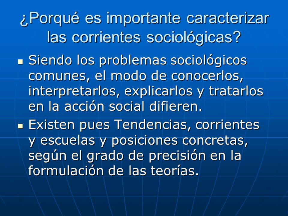 ¿Porqué es importante caracterizar las corrientes sociológicas? Siendo los problemas sociológicos comunes, el modo de conocerlos, interpretarlos, expl