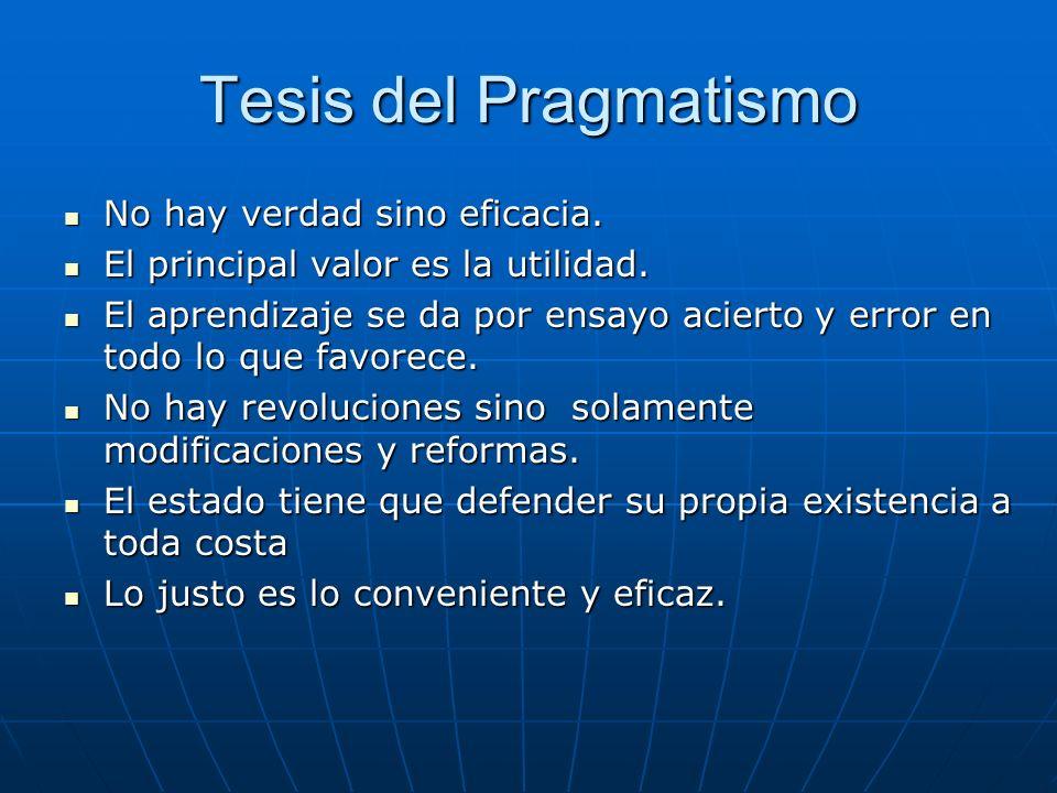 Tesis del Pragmatismo No hay verdad sino eficacia. No hay verdad sino eficacia. El principal valor es la utilidad. El principal valor es la utilidad.