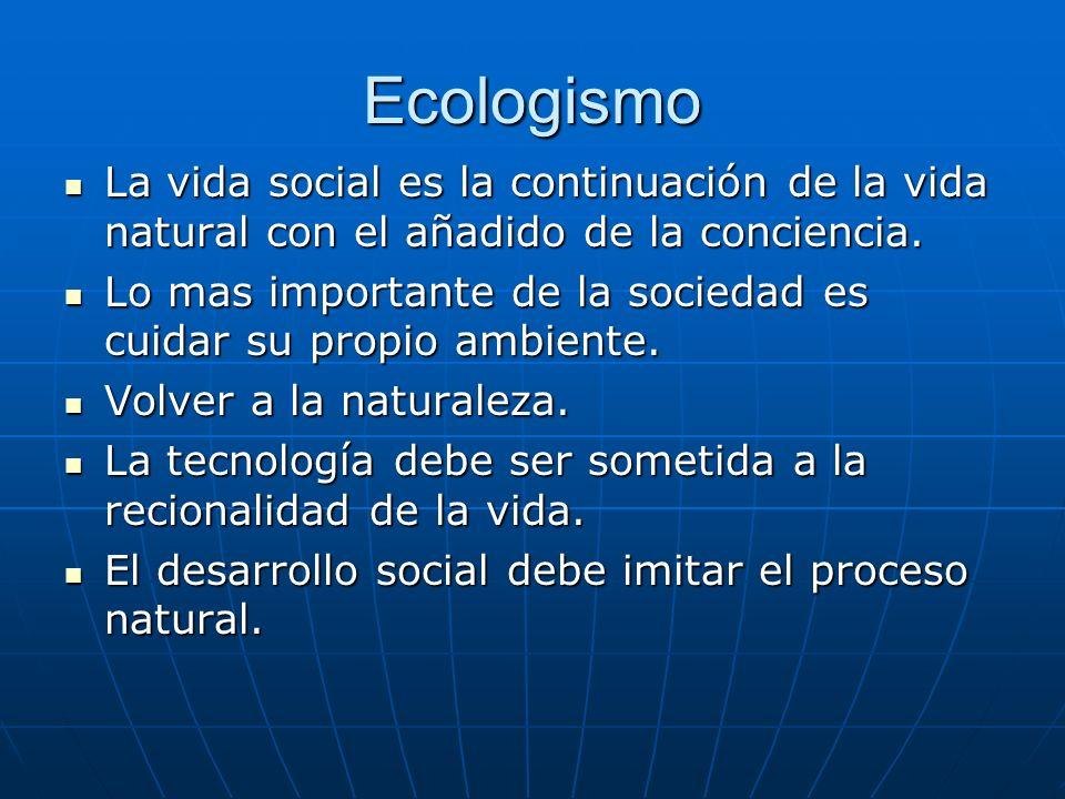 Ecologismo La vida social es la continuación de la vida natural con el añadido de la conciencia. La vida social es la continuación de la vida natural
