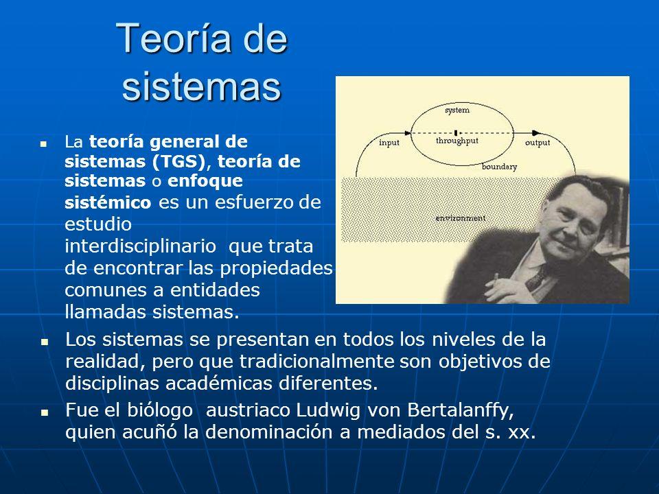 Teoría de sistemas La teoría general de sistemas (TGS), teoría de sistemas o enfoque sistémico es un esfuerzo de estudio interdisciplinario que trata
