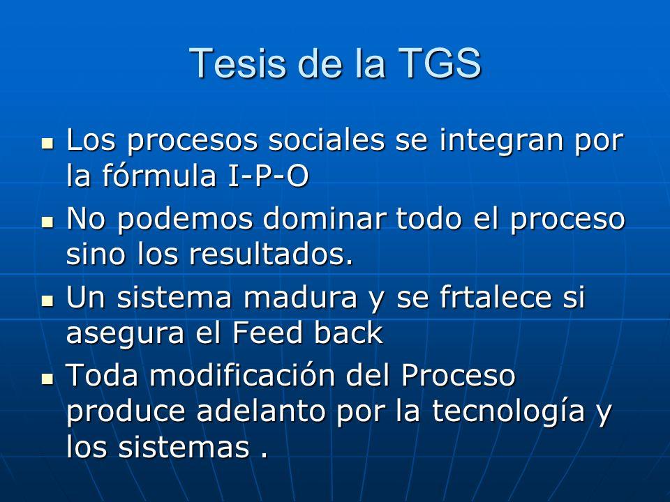 Tesis de la TGS Los procesos sociales se integran por la fórmula I-P-O Los procesos sociales se integran por la fórmula I-P-O No podemos dominar todo