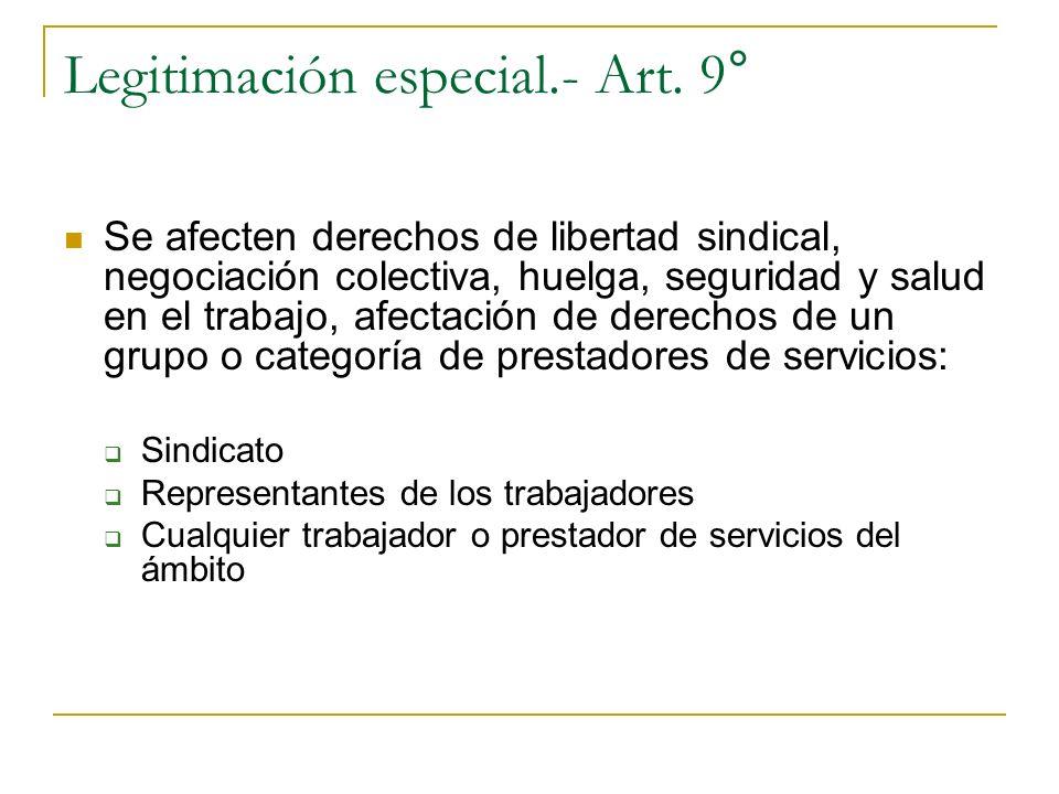 Legitimación especial.- Art. 9° Se afecten derechos de libertad sindical, negociación colectiva, huelga, seguridad y salud en el trabajo, afectación d