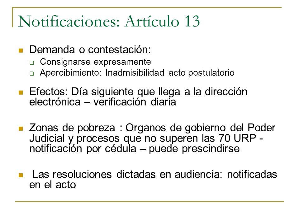 Notificaciones: Artículo 13 Demanda o contestación: Consignarse expresamente Apercibimiento: Inadmisibilidad acto postulatorio Efectos: Día siguiente