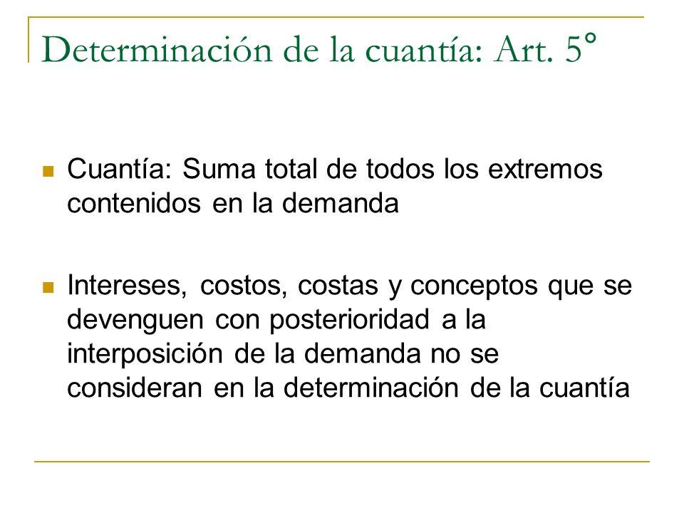 Determinación de la cuantía: Art. 5° Cuantía: Suma total de todos los extremos contenidos en la demanda Intereses, costos, costas y conceptos que se d