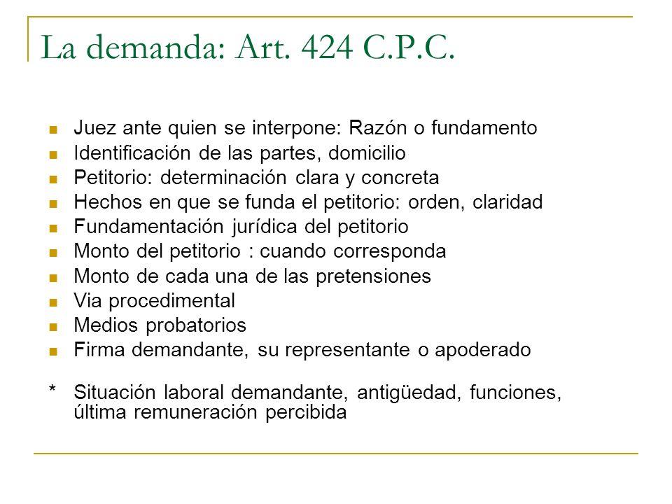 La demanda: Art. 424 C.P.C. Juez ante quien se interpone: Razón o fundamento Identificación de las partes, domicilio Petitorio: determinación clara y