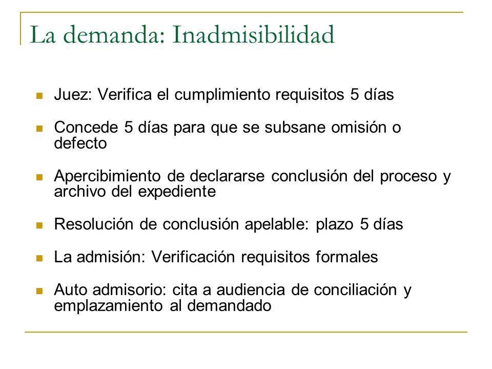 La demanda: Inadmisibilidad Juez: Verifica el cumplimiento requisitos 5 días Concede 5 días para que se subsane omisión o defecto Apercibimiento de de