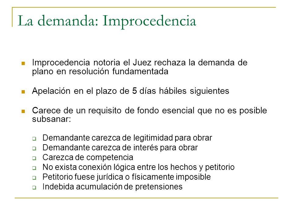 La demanda: Improcedencia Improcedencia notoria el Juez rechaza la demanda de plano en resolución fundamentada Apelación en el plazo de 5 días hábiles