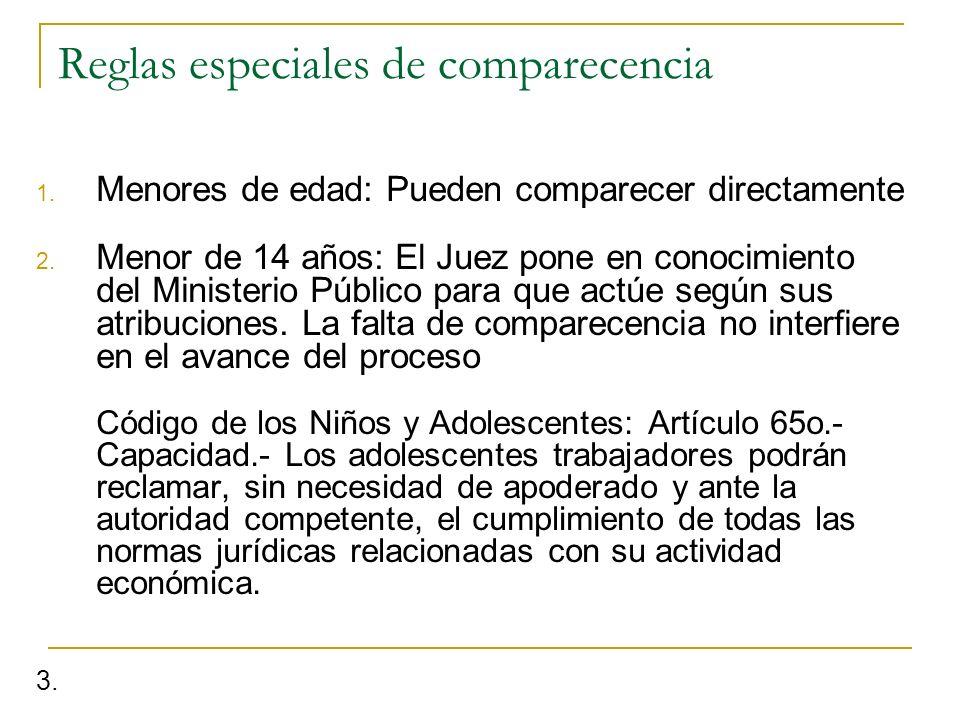 Reglas especiales de comparecencia 1. Menores de edad: Pueden comparecer directamente 2. Menor de 14 años: El Juez pone en conocimiento del Ministerio