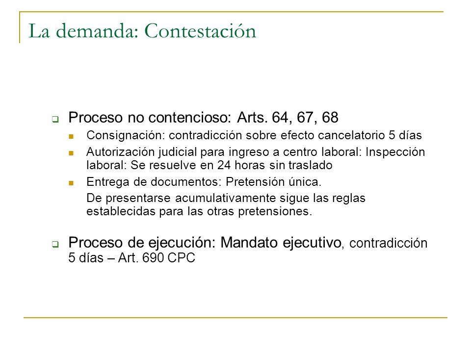 La demanda: Contestación Proceso no contencioso: Arts. 64, 67, 68 Consignación: contradicción sobre efecto cancelatorio 5 días Autorización judicial p