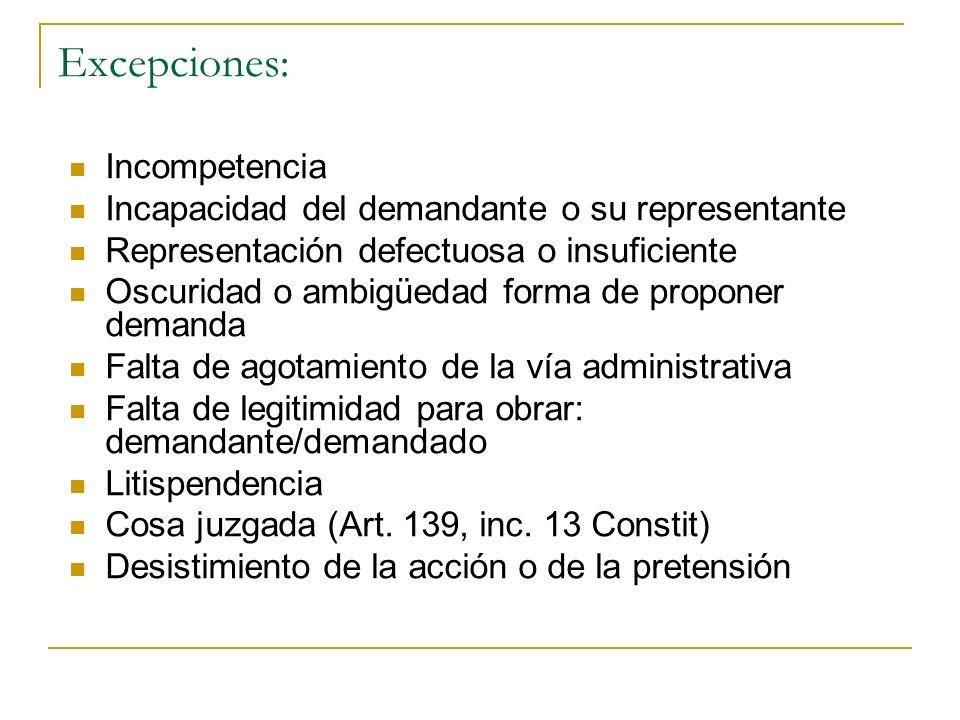 Excepciones: Incompetencia Incapacidad del demandante o su representante Representación defectuosa o insuficiente Oscuridad o ambigüedad forma de prop