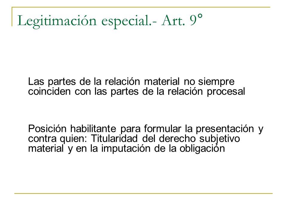 Legitimación especial.- Art. 9° Las partes de la relación material no siempre coinciden con las partes de la relación procesal Posición habilitante pa