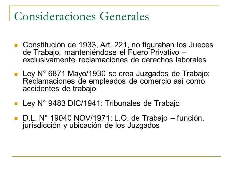 Consideraciones Generales Constitución de 1933, Art. 221, no figuraban los Jueces de Trabajo, manteniéndose el Fuero Privativo – exclusivamente reclam