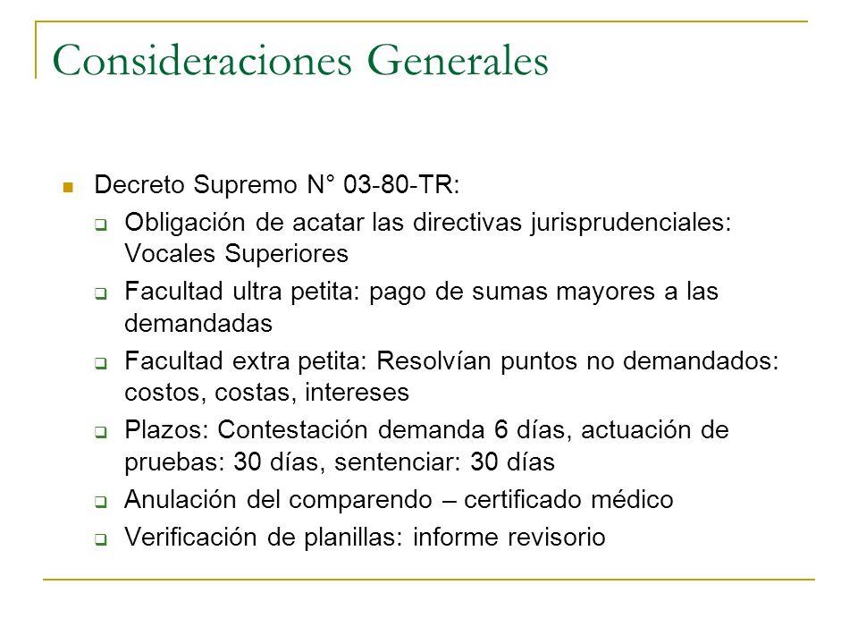 Consideraciones Generales Decreto Supremo N° 03-80-TR: Obligación de acatar las directivas jurisprudenciales: Vocales Superiores Facultad ultra petita
