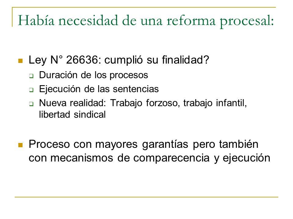 Había necesidad de una reforma procesal: Ley N° 26636: cumplió su finalidad? Duración de los procesos Ejecución de las sentencias Nueva realidad: Trab