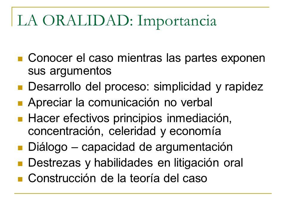 LA ORALIDAD: Importancia Conocer el caso mientras las partes exponen sus argumentos Desarrollo del proceso: simplicidad y rapidez Apreciar la comunica