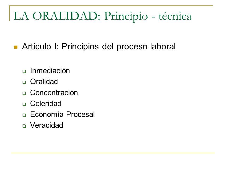 LA ORALIDAD: Principio - técnica Artículo I: Principios del proceso laboral Inmediación Oralidad Concentración Celeridad Economía Procesal Veracidad