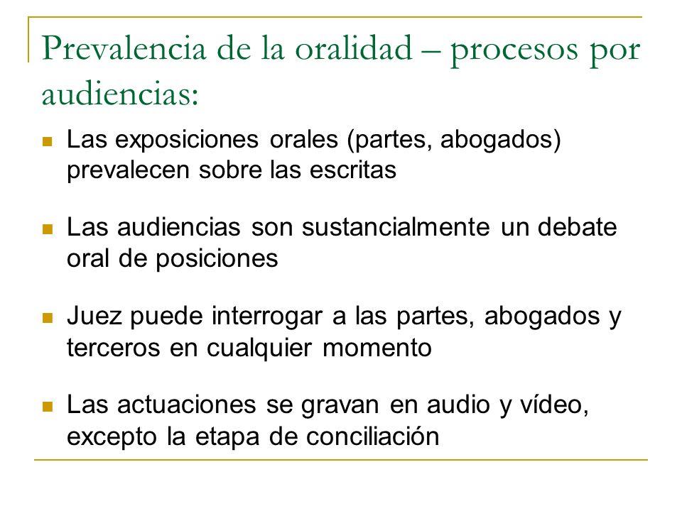 Prevalencia de la oralidad – procesos por audiencias: Las exposiciones orales (partes, abogados) prevalecen sobre las escritas Las audiencias son sust