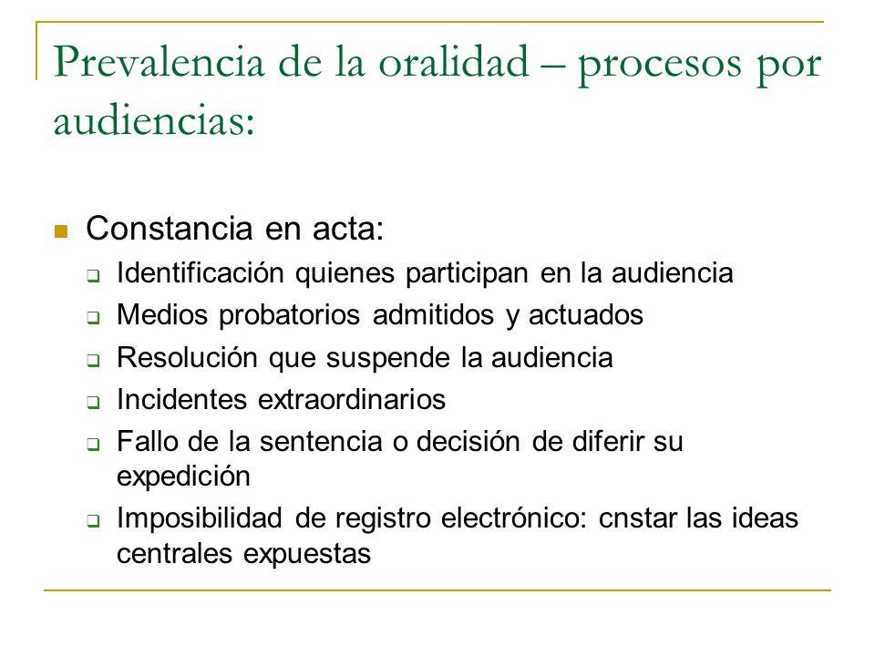 Prevalencia de la oralidad – procesos por audiencias: Constancia en acta: Identificación quienes participan en la audiencia Medios probatorios admitid