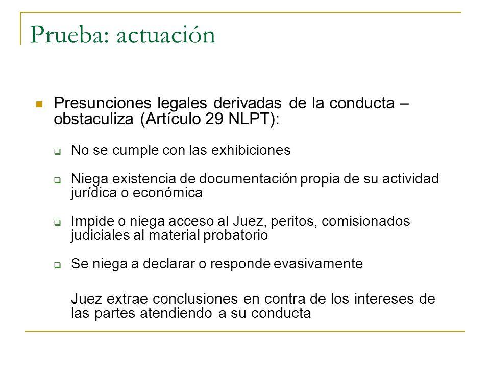 Prueba: actuación Presunciones legales derivadas de la conducta – obstaculiza (Artículo 29 NLPT): No se cumple con las exhibiciones Niega existencia d