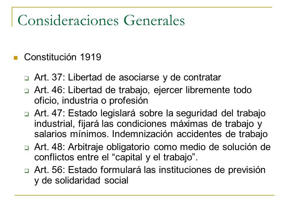 Consideraciones Generales Constitución 1919 Art. 37: Libertad de asociarse y de contratar Art. 46: Libertad de trabajo, ejercer libremente todo oficio