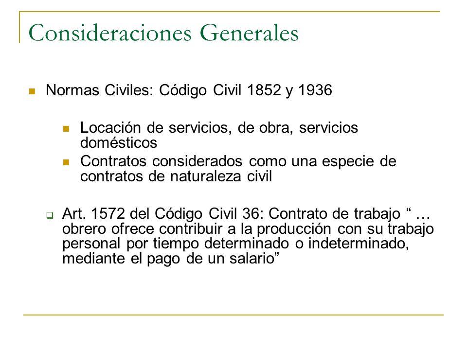 Consideraciones Generales Normas Civiles: Código Civil 1852 y 1936 Locación de servicios, de obra, servicios domésticos Contratos considerados como un