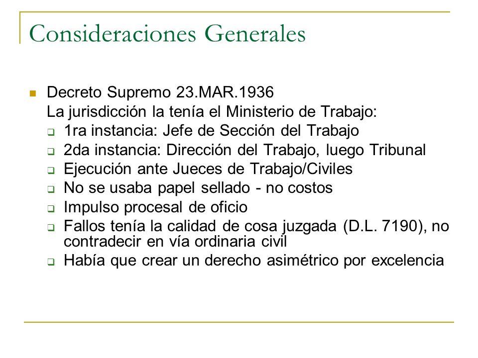 Consideraciones Generales Decreto Supremo 23.MAR.1936 La jurisdicción la tenía el Ministerio de Trabajo: 1ra instancia: Jefe de Sección del Trabajo 2d